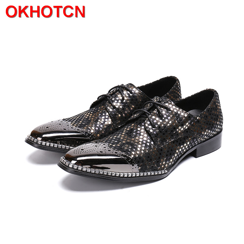 Bling Genuine Leather Men Shoes Lace Up Oxford Shoes for Men Designer Rhinestone Mocassin Homme OKHOTCN Cow Suede Dress Shoes dekesen brand men casual shoes lace up 100% cow leather men flats shoes breathable dress oxford shoes for men chaussure homme