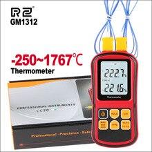 Rz Professionele Thermometer Digital Gereedschap Meten Hanheld Temperatuur Tester Temperaturo Meter Met 2Pcs Thermokoppel GM1312