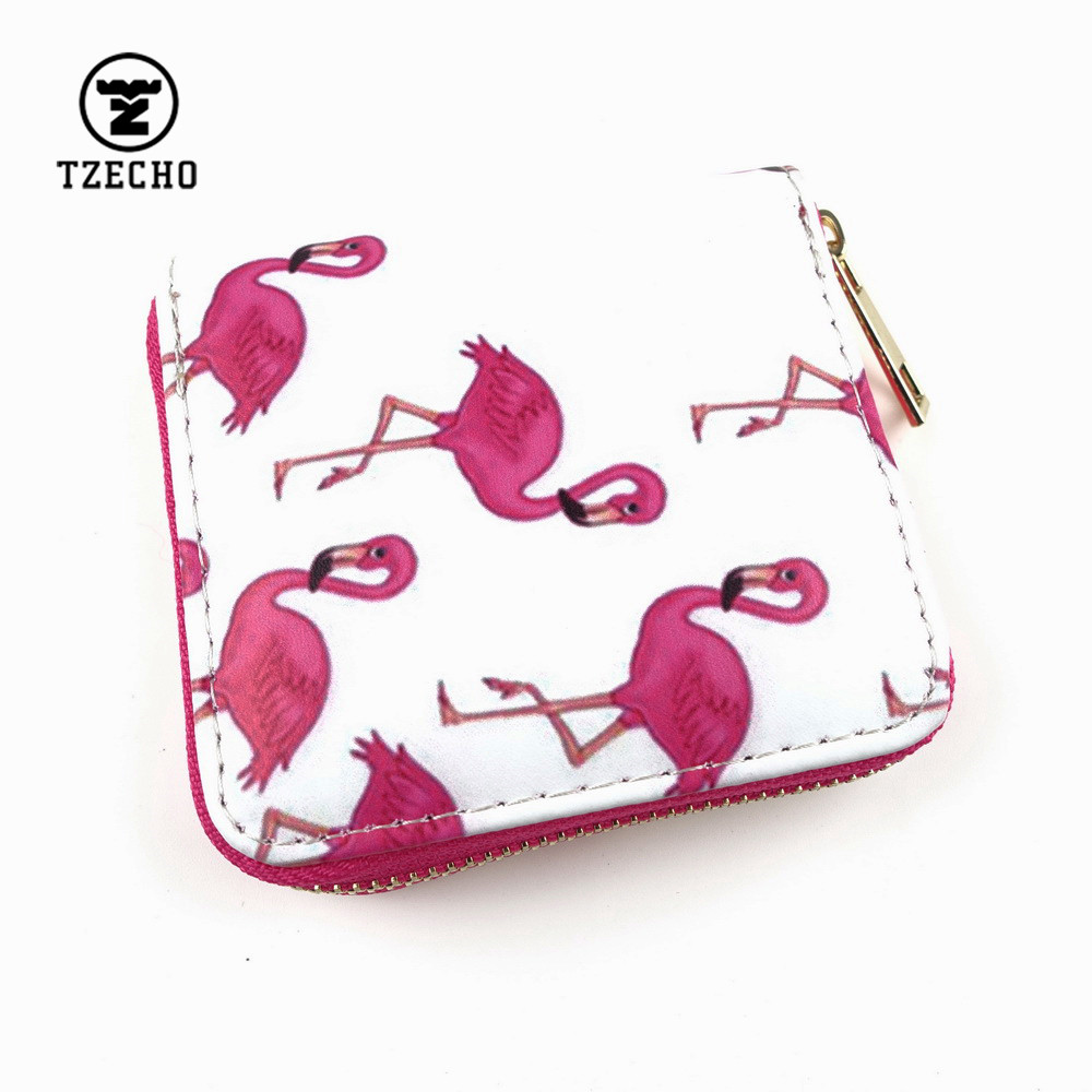 TZECHO Zipper Around Womens Wallets Leather Print Flamingo Girls Short Money Purses Mini Coin Pocket Small Card Holder Bag