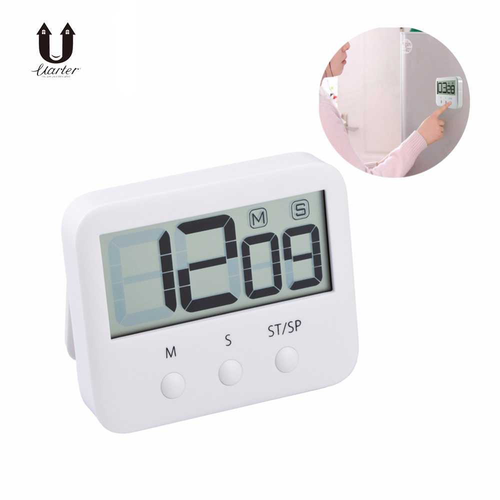 Uarter 1PCS High Quality Digital LCD Cooking Timer Sport Count-Down Up Clock Alarm Reminder White Kitchen Clock