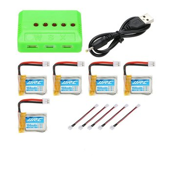 5pcs Original JJRC 3.7V 150mAh 30C Lipo Batteries with 5 in 1 Battery Charger for JJRC H36 NiHui NH010 RC Quadcopter Drone