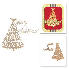 Merry Christmas Tree HOT FOIL PLATE Silver Metal Cutting Dies DIY Photo Embossing Die Scrapbooking Stencils Hot Stamping Foil