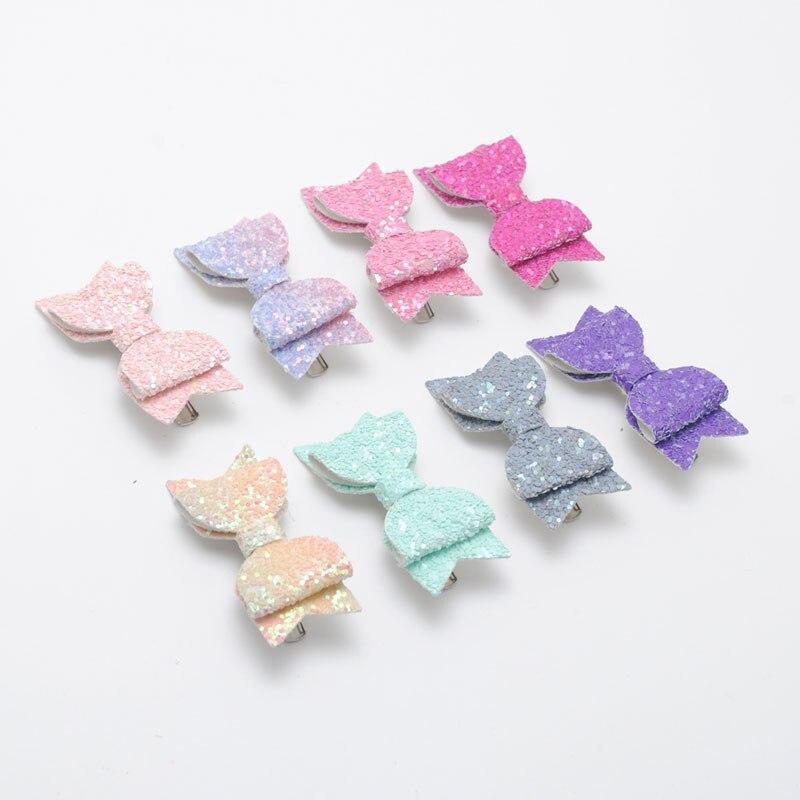 2 pcs / lot Girls Hair clips Cheer Shape Bows Hairpins Glitter Hair Accessories Birthday Gift Party   Headwear
