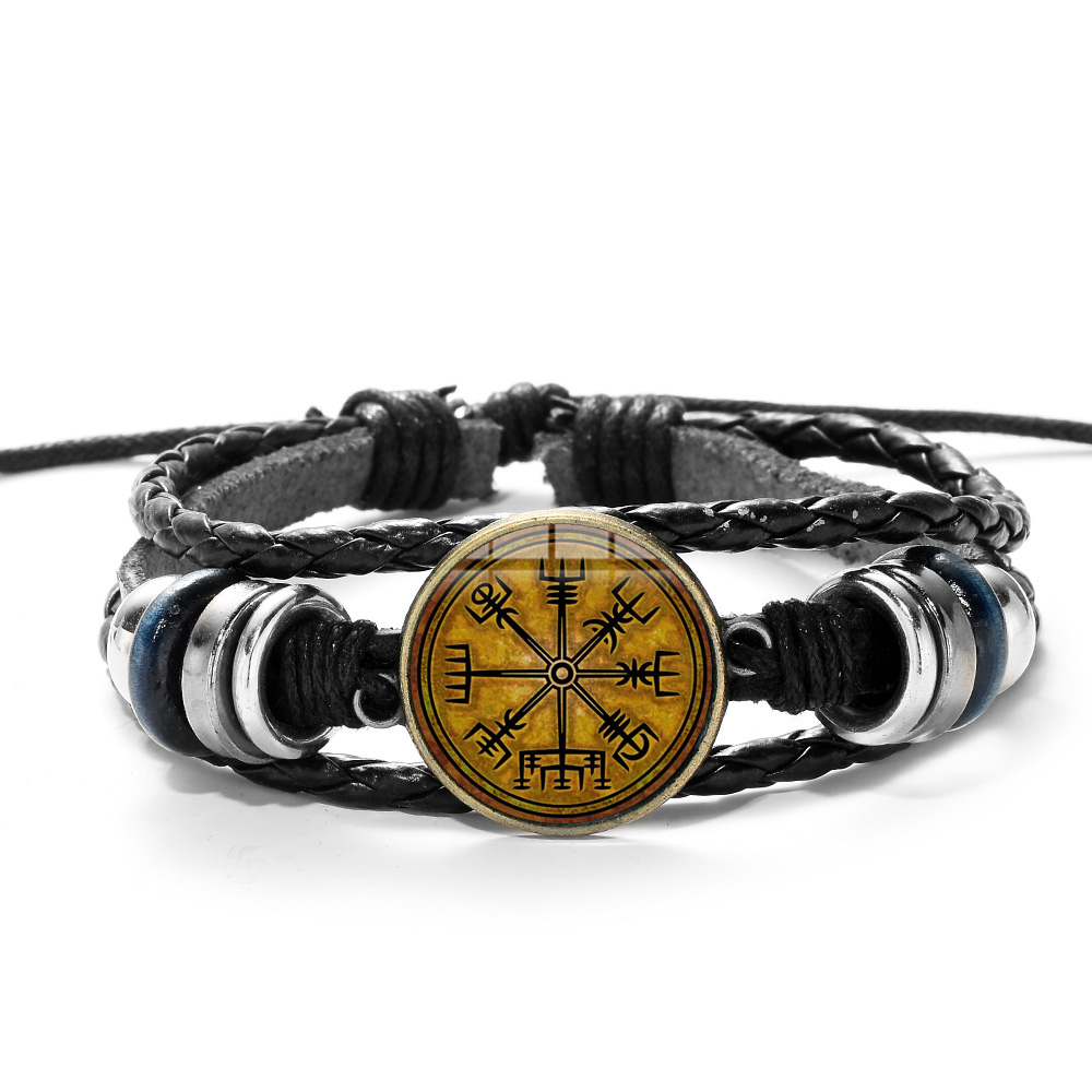 SIAN Viking Compass Multilayer Wood Bead Bracelet Men Casual Fashion Braided Leather Bracelets Bangles Retro Punk Wrap Wristband