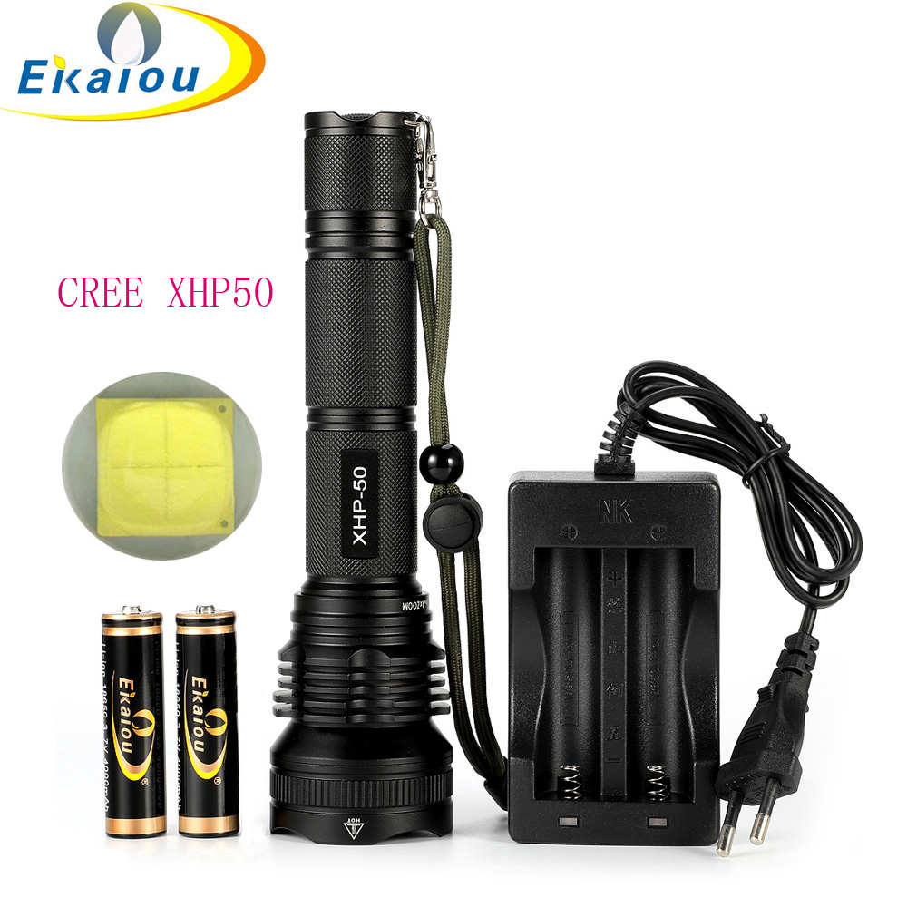 new XHP50 Waterproof 8000 lumens LED Aluminum Flashlight Powerful Torch Zoom Tactical flashlight Люмен