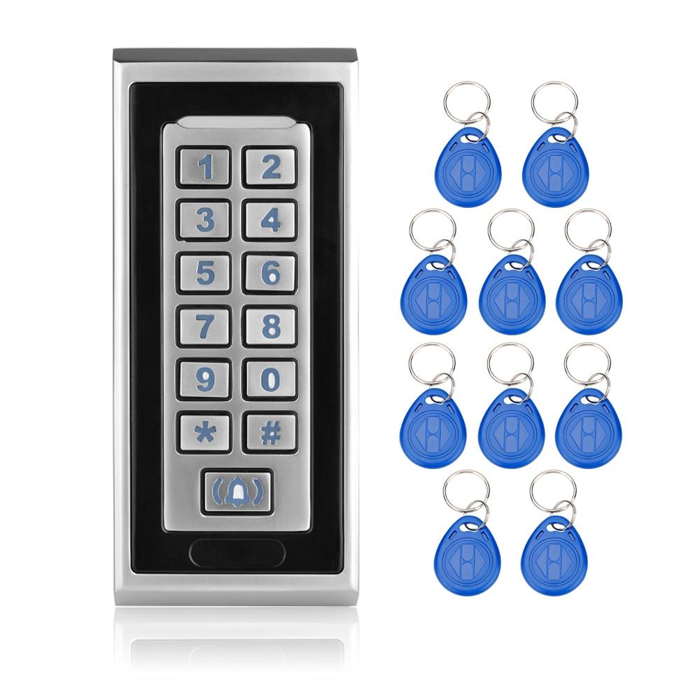 RFID Door Control Locks ID Card Reader Metal Keypad Access Control System Digital Locks with doorbell function+10 key fobs-K81 sliver rfid door lock card reader access control with metal keypad number digital door hotel locks for access control system k81