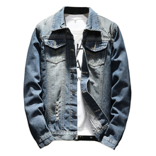 2018 spring and autumn Bomber Denim Jacket Men Fashion five-pointed star Hole Jacket Jean Jacket Casual Jeans Clothing M-5XL