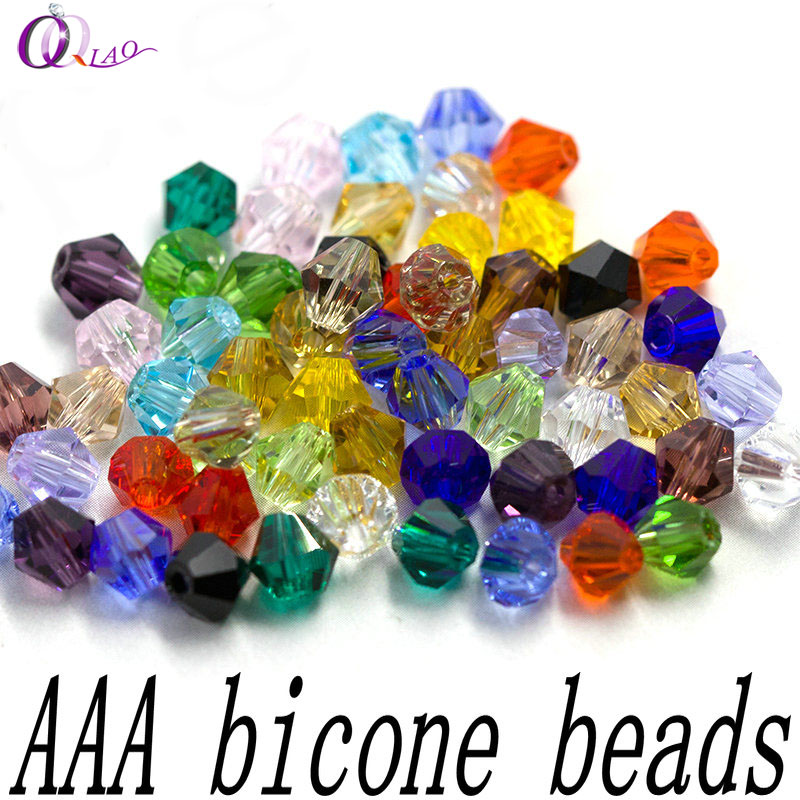AAA quality 100pcs/pack 3-4mm crystal bicone beads spacer glass beads loose beads Bracelet Accessories for Jewelry making DIY