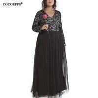COCOEPPS 2018 5XL 6XL Sequin Gauze Maxi Dresses Plus Size Winter Long Dress Sexy Evening Party