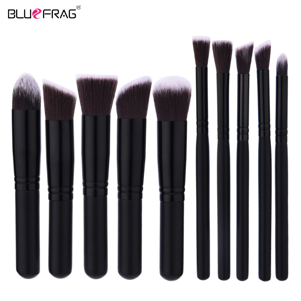 10pcs Professional Wood Handle Makeup Brush Set BLUEFRAG Brand Black Make Up Brushes Foundation Powder Contouring Cosmetic Tool лампочка sparkled filament g45 e14 4w 200 240v 6500k llf45 4e 65