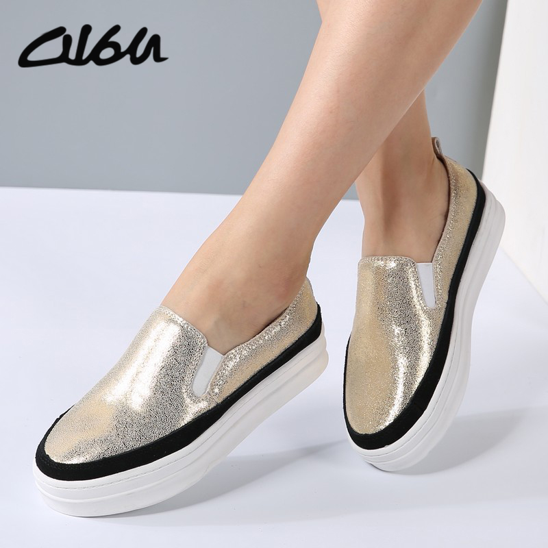 O16U Women Platform Sneakers Loafers flats shoes genuine Leather Bling slip on Bordered creepers lady silvery Gold Black silveryO16U Women Platform Sneakers Loafers flats shoes genuine Leather Bling slip on Bordered creepers lady silvery Gold Black silvery