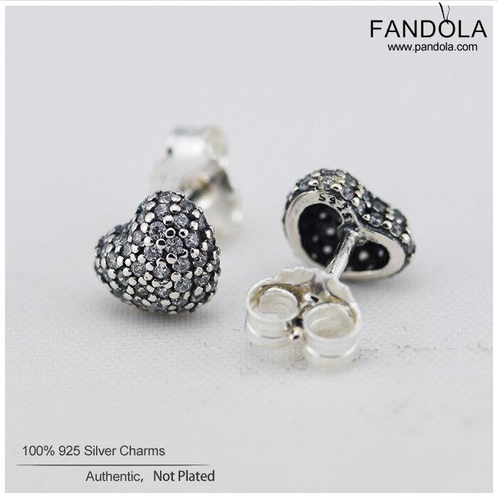 Love Heart Stud Earrings with Clear Cubic Zirconia 925 Sterling - Fine smykker