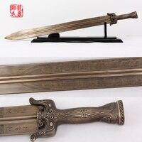 Imiated sword liso grandes espadas de bronce antiguo chino hoja de latón arte marcial para la película da wudan