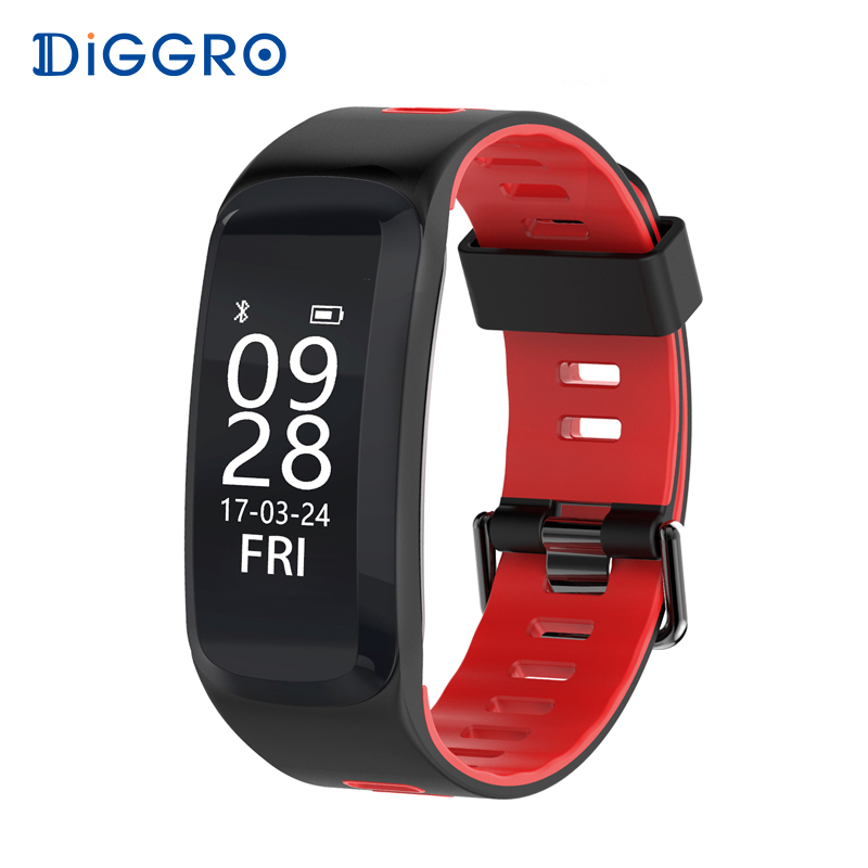 Diggro F4 Smart Band BT 4.0 IP68 Heart Rate Blood pressure Blood Oxygen Monitor Pedometer Outdoor Smart Bracelet for Android IOS ip68 real swim waterproof smart bracelet heart rate monitor blood pressure oxygen smart band watch for ios android pk mi band 2