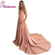 Vestido De Festa  Pink Evening Dress Abendkleider 2019 Long Train Party Dress Evening Gowns Abiye Gece Elbisesi Robe De Soiree цена