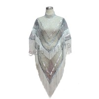 Nightclub Female Singer Silver White Tassel Cloak Stage Wear Fashion Women Celebrity Party Sequined Perspective Sexy Cape Coat