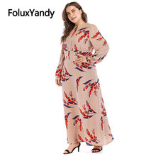 7 XL Plus Size Long Dress Women Vestidos European Style Casual Print Long Sleeve Slim A-line Dress CMC1928