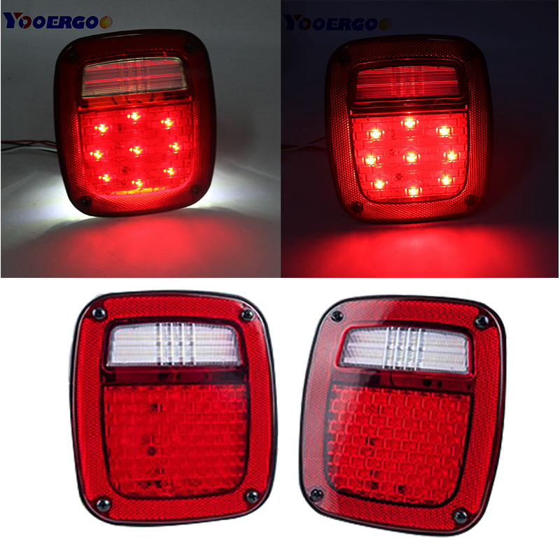 YAIT Led Tail Light with LED License Square Turn Lights Plate Lamp StopTurn Signal Back Up Lights for TJ JK Truck Trailer Boat xuankun off road motorcycle modified led taillights turn lights brake lights license plate tail lighthouse