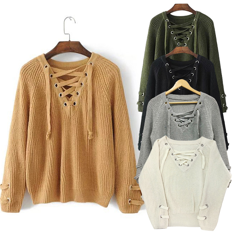 Spring 2018 New V - Neck Long Sleeve Pullover Personalized Lace Decorative Casual Base Knit Sweater Size F