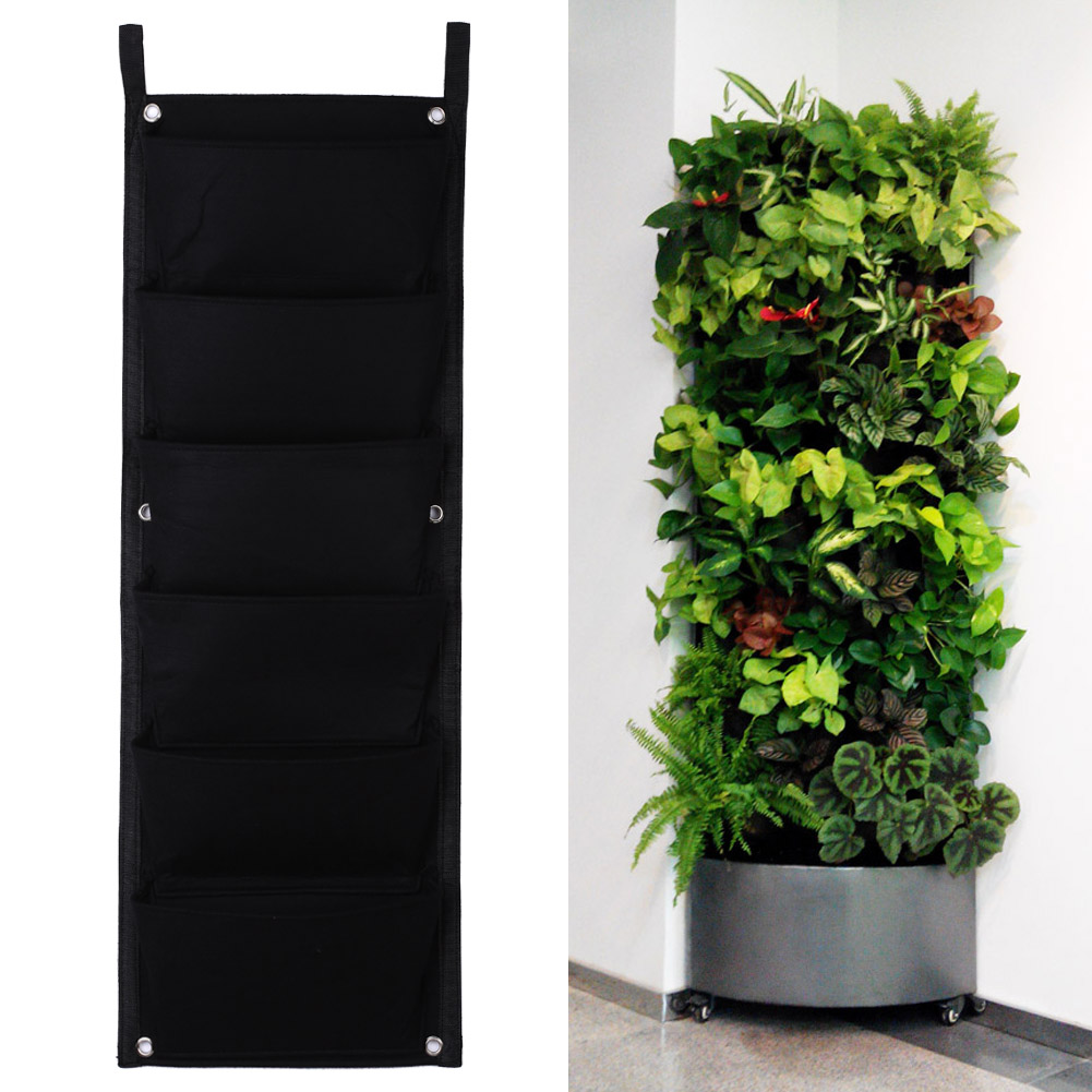 6 Pockets Flower Pots Vertical Planter On Wall Hanging Felt Gardening  Plants Pot Indoor Office Green Field Grow Container Bags -in Flower Pots &  Planters ...