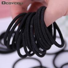 Simple Black Elastic Hairbands for Girls Fashion Women Scrunchie Gum Hair Accessories Seamless Bands 10PCS