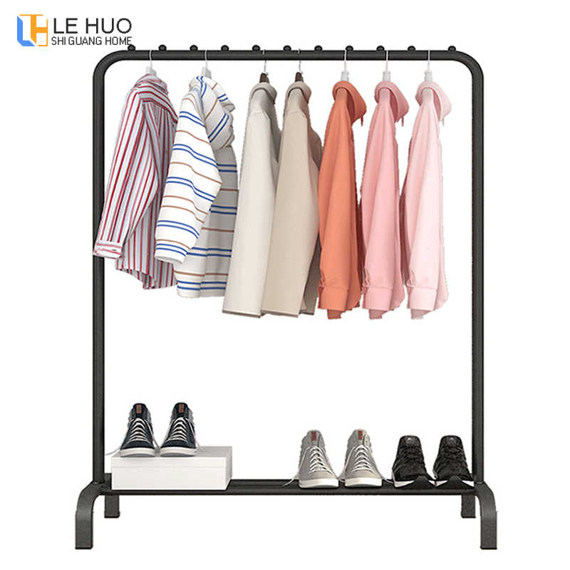 Simple fashion Clothes rack Outdoor balcony storage Shelf stainless steel hanger Single rod Drying rack hangers furniture