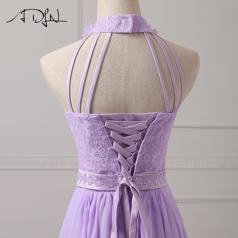 c599b3f7dfed ADLN Halter Chiffon A Line Lilac Bridesmaid Dresses Lace Wedding Guest Gown  Short Maid of Honor Dress -in Bridesmaid Dresses from Weddings   Events on  ...