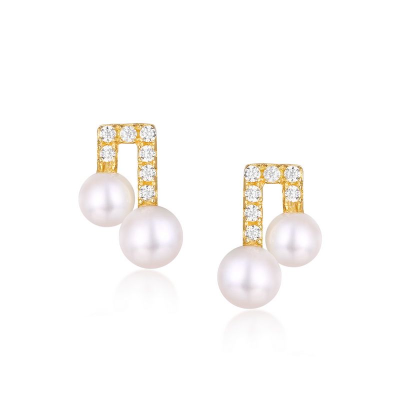 JXXGS 14K Gold 3A Cubic Zircon Earrings Fresh Water Pearl Stud Earrings For Girls