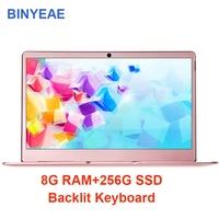 BINYEAE ноутбук 8G Оперативная память 256 г 512 г с подсветкой клавиатуры Тетрадь компьютер intel j3455 4 ядра 14 дюймов ips экран металла Ultrabook