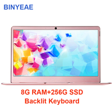 Купить с кэшбэком BINYEAE 14 inch Notebook Computer 8G RAM 256G 512G With Backlit Keyboard Laptop intel j3455 Quad Core IPS Screen Metal Ultrabook