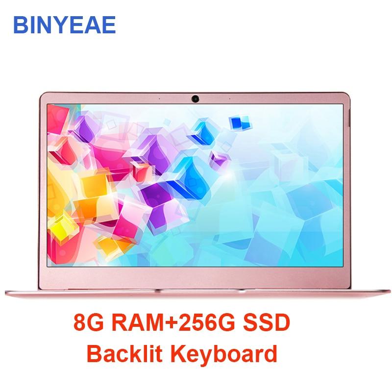 BINYEAE 14 inch Notebook Computer 8G RAM 256G 512G With Backlit Keyboard Laptop intel j3455 Quad Core IPS Screen Metal Ultrabook