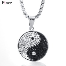 Stainless Steel Chinese Style Yin Yang Nekclace & Pendant For Women Rhinestone Round Black White Tai Chi Necklace Link Chain chic rhinestone round pendant embellished black double chokers chain for women