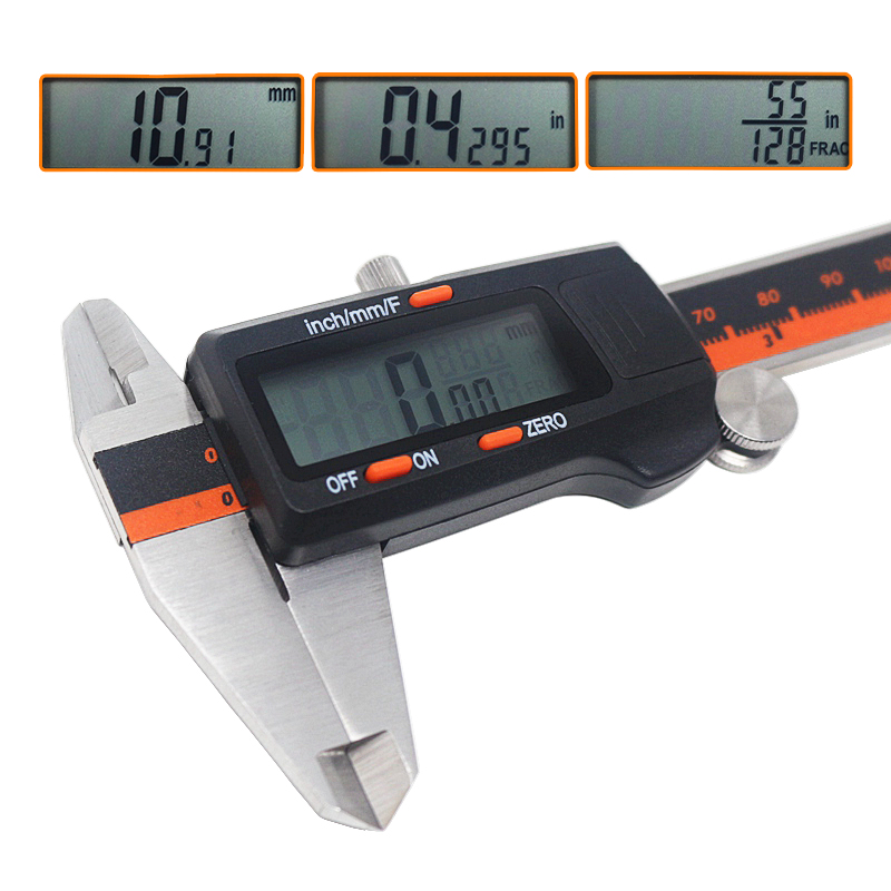 Digital Vernier Caliper Stainless Steel 150mm 6 Inch Fraction / MM / Inch LCD Caliper Gauge Micrometer