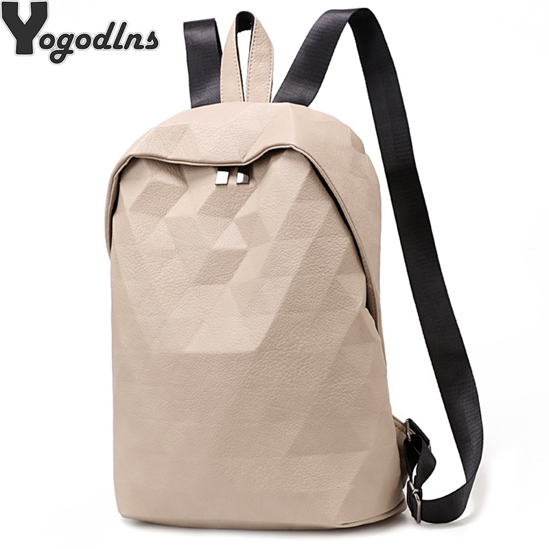 Women Backpack PU Leather School Bags For Teenager Girls Simple Plaid Female Rucksack Preppy Style Travel Knapsack