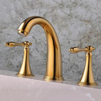 2 handles sink basin faucet hot and cold, Copper three hole sink basin faucet golden, Brass handle bathroom bathtub faucet deck