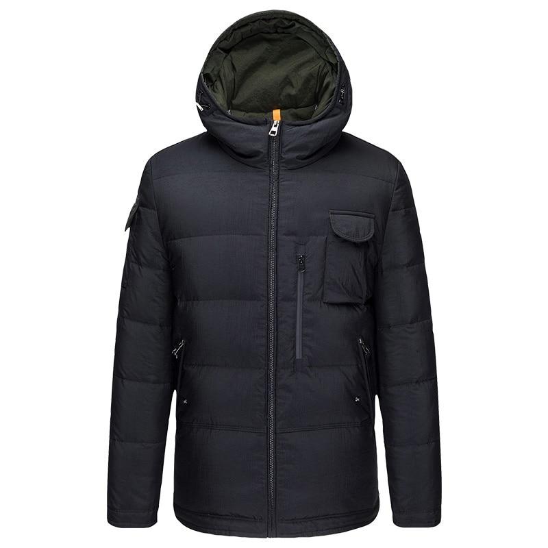 DZYS Men's Duck   Down   Jacket Hooded Outwear Thick Warm   Down     Coat   for Men Male 7841