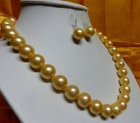 18 10 11mm genuine freshwater gold pearl necklace 14K gold gift earring
