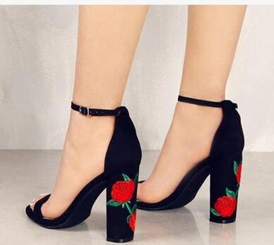 b3a105e1d2a Hot Selling American and European Cheap price Women Embroider heels Sandals  back Strap Open Toe Ladies Shoes