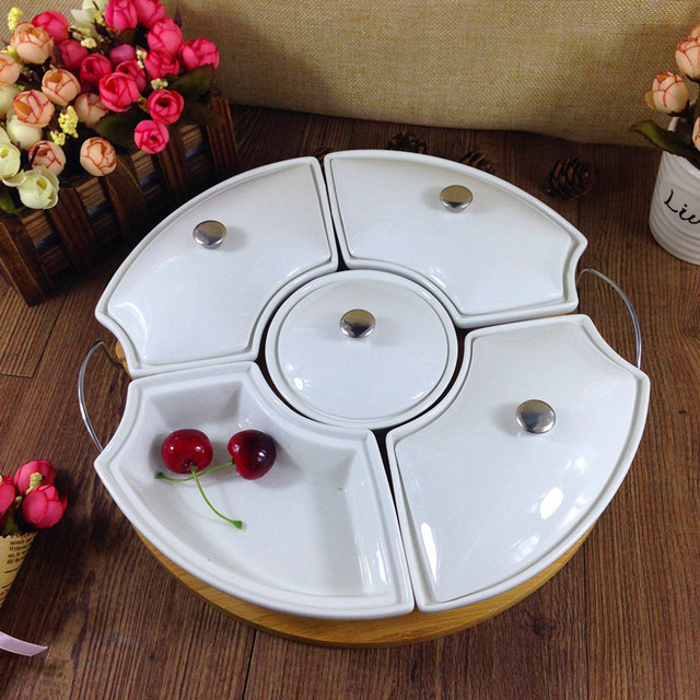 Genial Ceramic Divisions Dining Dish Set Decorative Porcelain Candy Box Bamboo  Tableware Snack Tray Kitchenware Utensil Gift