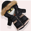 2016 New Boys Girls Hooded Wadded Jacket Medium-long Thickening Children Costume Outerwear Free Shipping