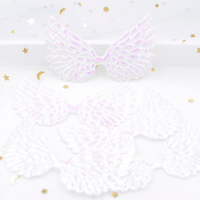 20 шт. 72*43 мм блеск AB Белый Крыло ангела аппликации Двусторонняя переливающийся Амур крыла Фея крыло патчи для одежды Декор F64