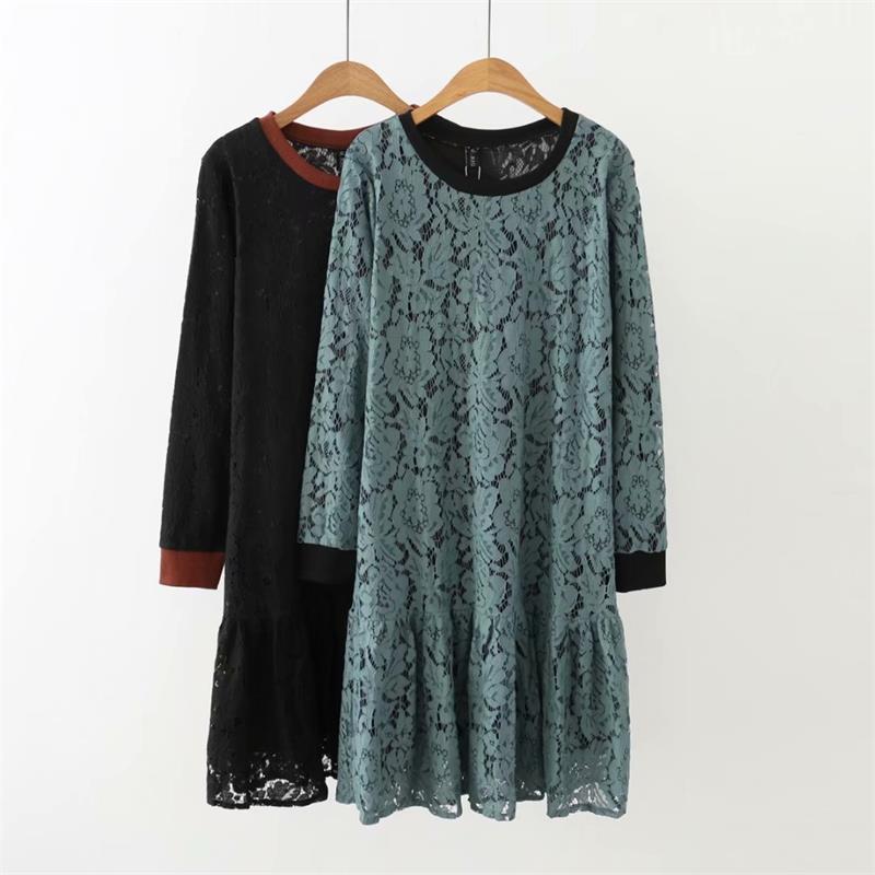 Plus size Lace Double layer O Neck Long sleeves women dress 2018 Autumn casual black & Bluish grey ladies vestidos female 5XL