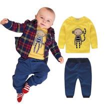 3pcs Clothing Set Cute Monkey Newborn Baby Boy Plaid Coat + Pants + Shirts Clothes Sets Suit