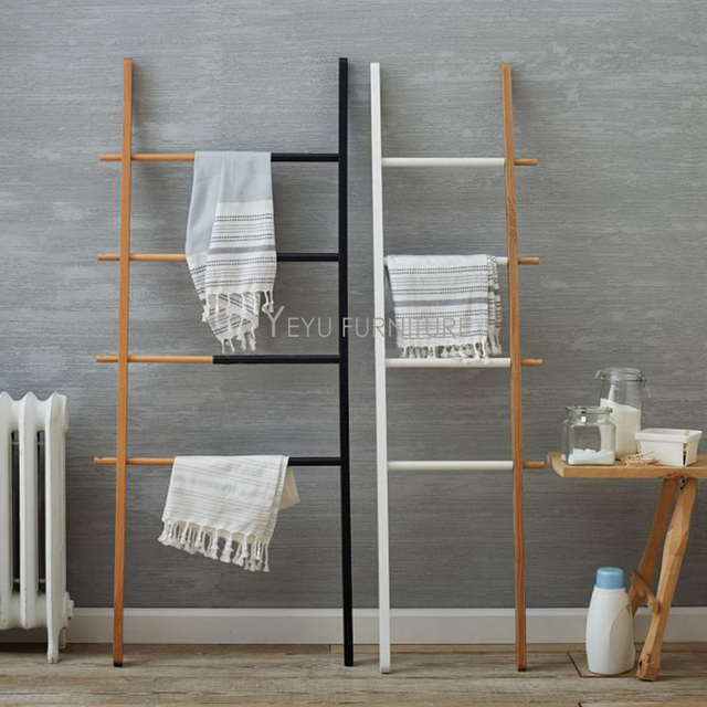 Modern Design Solid Wooden Ladder Retractable Coat Rack Living Room Double  Color Retractable Stepladder Coat Rack