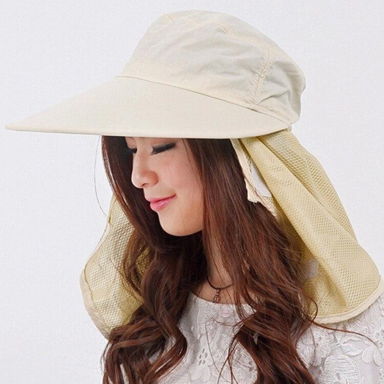 Новое поступление открытый широкие Полями Летняя Съемная Солнцезащитная шляпа для женщин лицо шеи крышка откидной козырек УФ шапки 5 цветов - Цвет: Beige