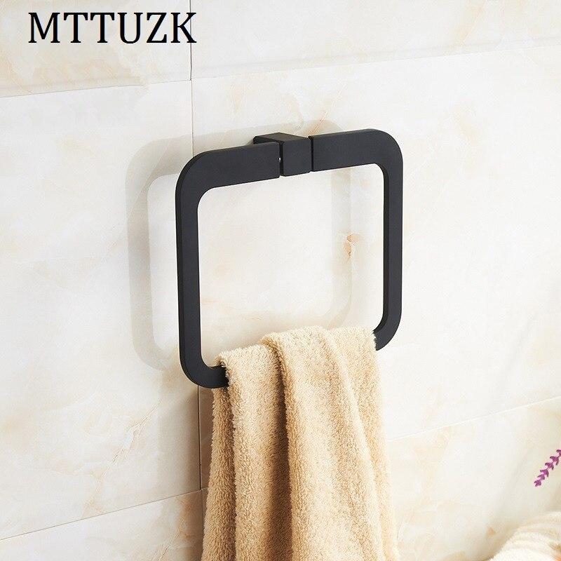 MTTUZK Simple stainless steel chrome bathroom square towel ring bathroom towel hardware pendant Towel Rack Bathroom
