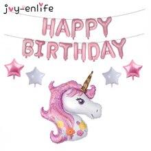 JOY-ENLIFE 18pcs Cartoon Unicorn Balloon Birthday Party Decor Kids Happy Birthday Letter Balloons Unicorn Party Baby Shower