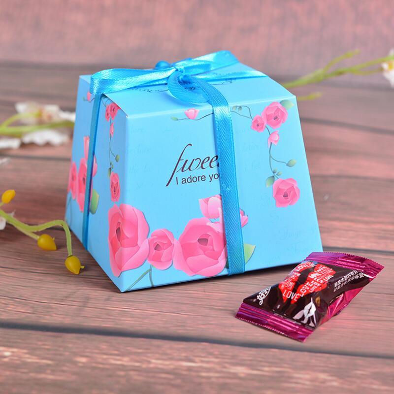 20ks / pack Svatební Candy Box Sladkosti Dárky Favor krabice s mašlí Party dekorace Svatební dary pro hosty Svatební laskavosti