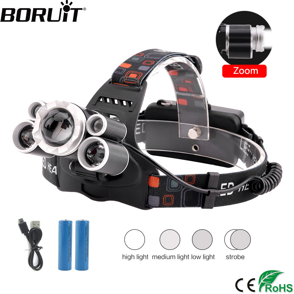 BORUiT W3 XML-T6 XPE LED Headlamp USB Charger Headlight Zoomable 4-Mode Head Torch Camping Fishing Flashlight By 18659 Battery