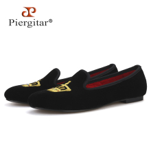 Velvet Shoes Embroidery Women Loafers Wedding Fashion Crown Piergitar Couple Party And